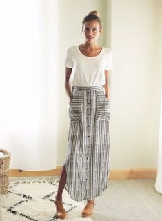 SPRING & SUMMER FASHION TRENDS 2017!  Ask your Stitch Fix stylist for a gingham maxi dress like this for your next outing. Sign up TODAY by clicking this picture. #affiliate #stitchfix white tucked in tee and button up maxi skirt