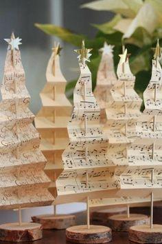 basteln weihnachten holz noten tannenbaum