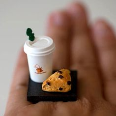 These are adorable!!     Kawaii Miniature Food Ring - To Go Combo - Coffee and A Chocolate Chip Scone. $10.00, via Etsy.