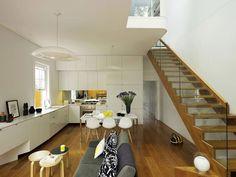 Resultado de imagen de entrada cocina y salon integrados