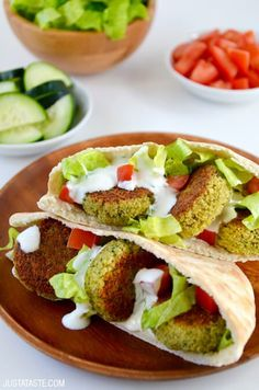 Crispy Homemade Baked Falafel | recipe via justataste.com: Crispy isn't the adjective I would use to describe these, but I loved the flavor of them. Next time I might sear them for a minute or two just before serving. Doesn't totally count as frying...right? Also, I made the mistake of trying to line the pan with foil. Don't do that. Just directly on the pan. 6/10/16