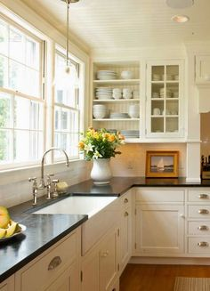 White but warm kitchen …this is what I'm aiming for  Jenny Steffens Hobick