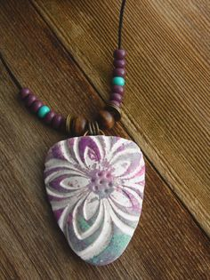 Polymer Clay Pendant Beach Jewelry featuring by WiredOrchidJewelry