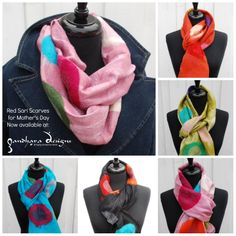 Our top choice under $100 for Mom this Mother's Day! Silk scarves by The Red Sari, handcrafted by women in Nepal. Available at  http://gandharadesigns.com/product/silk-scarves-with-polka-dot-embellishment-by-the-red-sari/