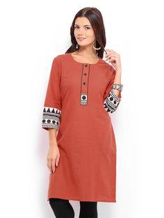 Buy Anouk Women Orange Handloom Checked Kurta - 364 - Apparel for Women - 440157