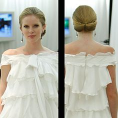 Elegant wedding hairstyle updo for weddings, here are a few of our favorite styles from recent bridal runway shows. This A cascade of fabric flowers dresses up Elegant Wedding Hair, Wedding Updo, Wedding Looks, Wedding Dress Styles, Dream Wedding, Natural Wedding Hairstyles, Elegant Hairstyles, Pretty Hairstyles, Bridal Hairstyles