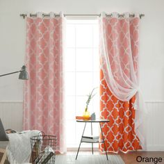 Aurora Home MIX and Match Curtains Muji Sheer Moroccan 84-inch 4-piece Curtain Panel Pair (Orange 84), Size 84 Inches (Polyester, Geometric)