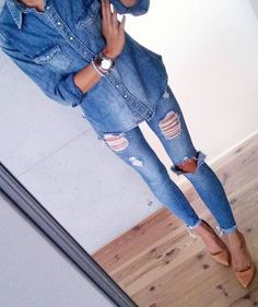 #fall #fashion · Denim Shirt // Destroyed Jeans // Nude Pumps