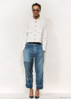 J. Crew Collection: sunglasses, white button down shirt, baggy patchwork jeans & heels  via Garance Doré #style #fashion