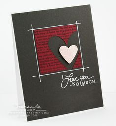 handmade Valentine card ... one layer ... black ... white sentiment and lines ... hearts in focal point area ... like it!