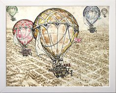 Hot air balloon fine art painting print illustration by ZarStudio