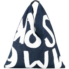 Mm6 Maison Margiela printed denim tote (2.257.945 IDR) ❤ liked on Polyvore featuring bags, handbags, tote bags, blue, blue tote bag, tote handbags, denim tote bag, tote hand bags and denim tote
