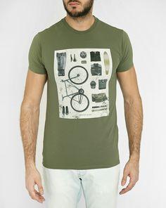 T-Shirt Col Rond Logo Velo Kaki AJ - ARMANI JEANS - T-shirts Col Rond ARMANI JEANS pour homme, LIVRAISON et Retour 30J GRATUIT - Menlook.com : + de 250 marques à découvrir