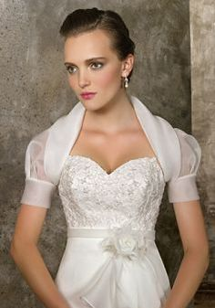 Organza Collarless Short Sleeves Wedding Jacket - Angeldress.co.uk