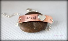 Loved  Copper and Sterling Silver Hand Stamped by mamamiatina, $42.00