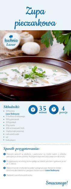 Zupa pieczarkowa /pieczarki /zupa /Lazur /ser pleśniowy /rokpol /przepisy /kuchnia lazur