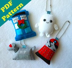 These could be great xmas ornaments! PDF PATTERN - Doctor Who Keychain/Ornament Plush Set by Michelle Coffee Doctor Who Christmas, Felt Christmas, Christmas Crafts, Christmas Decorations, Blue Christmas, Christmas 2015, Christmas Ornaments, Geek Crafts, Diy Crafts