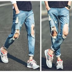 summer style jeans men an women ripped Ankle-Length pants Mens