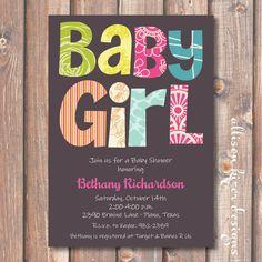 Funky Letters Baby Girl Printable by AllisonKizerDesigns on Etsy