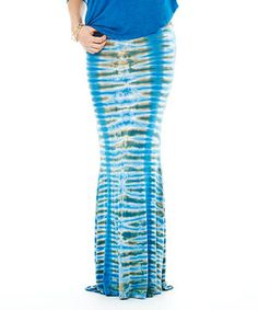 Emotion Apparel Azure Tie-Dye Fishtail Maxi Skirt by Emotion Apparel #zulily #zulilyfinds
