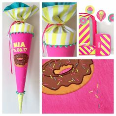 Schultüte aus Stoff Donut mit Streusel in Neongelb und Neonpink