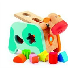 Explore sorting & stacking games, shapes & colours with this beautiful Blue Cow Shape Sorter from Djeco. Chunky wooden shapes in bright colours for baby & toddler. Toddler Toys, Baby Toys, Kids Toys, Wooden Shapes, Developmental Toys, Activity Toys, Montessori Toys, Toys Online, Toys Shop