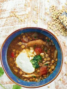 hot bowl of Slow Cooker Chicken Lentil Soup on a chilly day? This soup ...