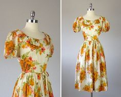 Vintage 1950s Floral Dress   1950s Day Dress  1950s by bloombird. 37/29