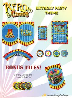 Afro Circus Printable Party Theme.  To view all matching items for this theme, please view this link: http://etsy.me/afro_circus_theme    #madagascar3 #afrocircus