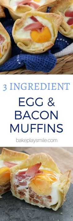 The easiest and BEST 3 INGREDIENT EGG AND BACON PIES ever… pop them into the oven for a delicious breakfast. They're also freezer-friendly so you can prepare them ahead of time!  #egg #bacon #homemade #pies #3ingredients #quick #easy #yum #recipe #breakfast