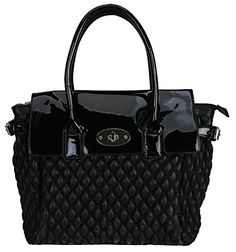 32a1d3b5da7f Rimen Co Bayswater Quilted Tote Satchel Large Women Handbag Purse Accented  Front Turn Lock Patent Leather Black -- You can get more details by  clicking on ...
