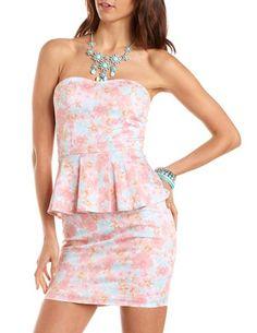 Floral peplum tube dress ! (: