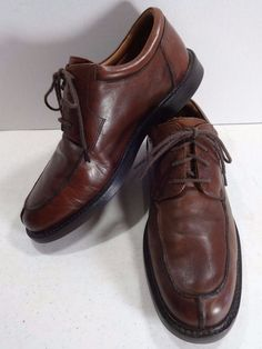 JOHNSTON MURPHY Size 9.5M Brown Leather Mens Oxford Lace Up Shoes Moc Toe #JohnstonMurphy #Oxfords