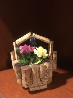 Wine cork Easter basket center piece Cork Ideas, Easter Baskets, Holiday Decorations, Centerpieces, Deco, Table Centerpieces, Table Decorations, Center Pieces, Centerpiece