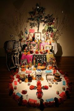 dia de los muertos. Love the tree and marigold cross