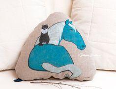 Horse Sky Blue Decorative Cushion with Cat triangle by LinkedArts