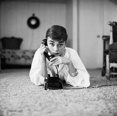 Rare Audrey Hepburn — Audrey Hepburn poses with the telephone at her...