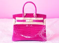 Hermes Rose Scheherazade Hot Pink Crocodile Birkin 30 Bag Kelly - New