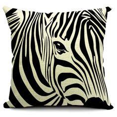 Zebra Printed Square Pillow Case 0==