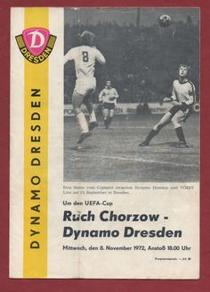 Orig.PRG UEFA Cup 72/73 DYNAMO DRESDEN - RUCH CHORZOW !! VERY RARE