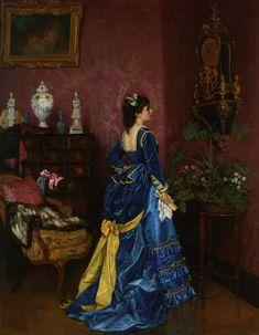 blue dress (La robe bleue) by  Auguste Toulmouche, 1872