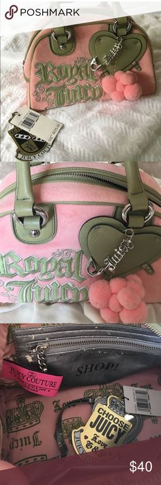 Juicy Couture Pink Bag Very cute pink and green Used Juicy Couture bag. Purchased in Nordstrom and comes with original tag.❌❌ inside of the bag pictured in pic 3 is chipping on the zipper and the mirror string. Also on picture 4 you can see the bottom of the bag which is not a big deal has a a bit of stains on the long sides.❌❌ Juicy Couture Bags