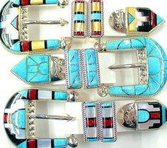 Zuni inlay buckles