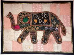 HANDMADE ELEPHANT BOHEMIAN PATCHWORK WALL HANGING EMBROIDERED TAPESTRY INDIA E86…