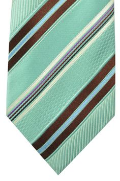 Zegna tie striped design in seafoam brown