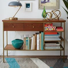 Nook Console | West Elm-- entry table, love the brass and mid-century vibe