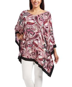 Another great find on #zulily! Purple & Black Paisley Poncho - Plus #zulilyfinds