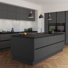 The 39 Best Black Kitchens - Kitchen Trends You Need To See - House & Living - Trend Diy Kitchen 2019 Grey Kitchen Cabinets, Home Decor Kitchen, Handleless Kitchen, Kitchen Trends, Modern Kitchen, New Kitchen, Kitchen Room Design, New Kitchen Cabinets, Kitchen Design