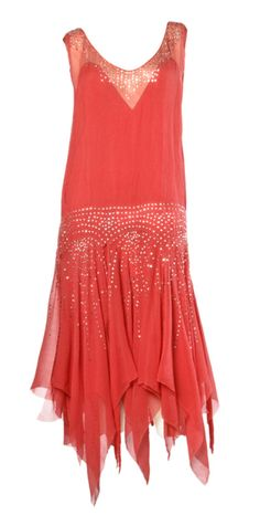 Vintage coral sheer silk flapper dress with rhinestones (1920's)~Image via Thrifted and Modern