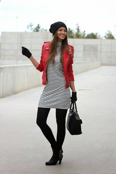 Lady Framboise: Red leather jacket